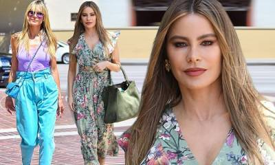 Heidi Klum and Sofia Vergara are visions of spring as they arrive at America's Got Talent