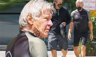 Harrison Ford, 78, showcases his fit figure after finishing a bike ride in Santa Monica