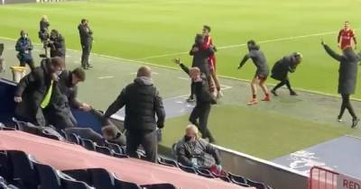 Close footage emerges of Liverpool bench's wild celebrations to Alisson header