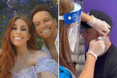 Joe Swash screams in pain at Stacey Solomon as he gets his ear pierced for the first time aged 39