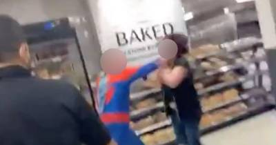 Man dressed as Spiderman punches Asda workers in shocking brawl after 'prank gone wrong'